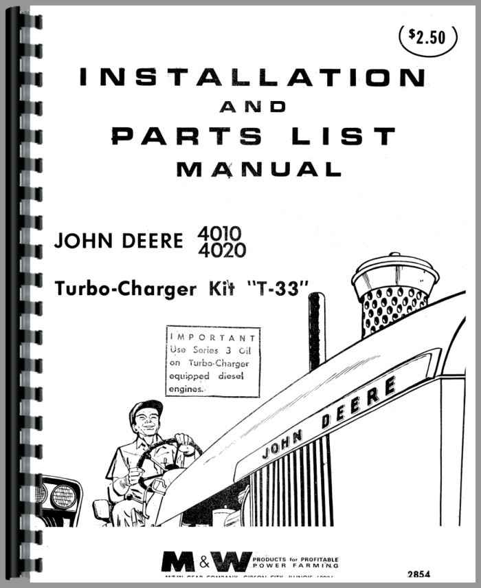 John Deere 4010 Tractor Turbo Kit Operators & Parts Manual