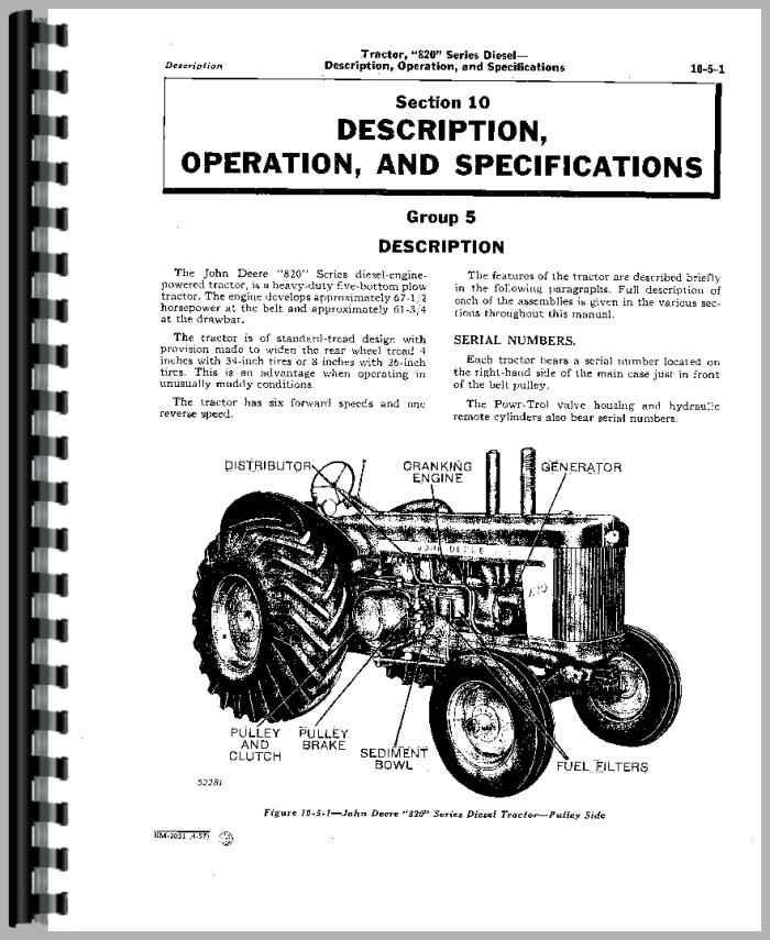 John Deere 840 Industrial Tractor Service Manual