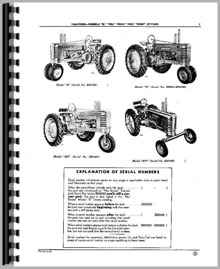 John Deere BW Tractor Parts Manual