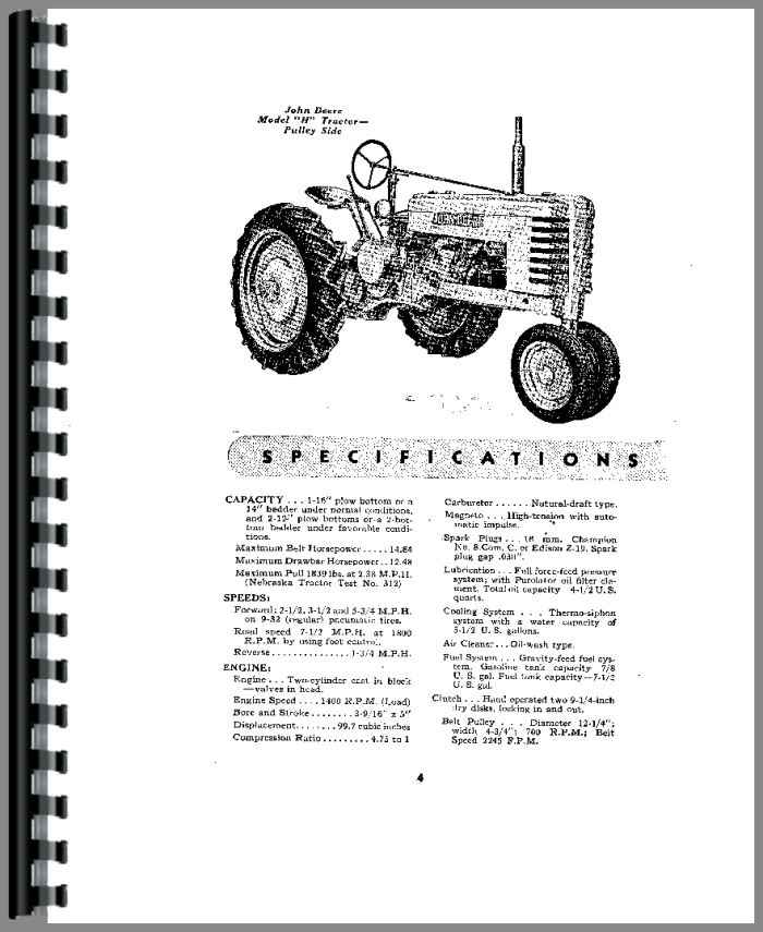 John Deere H Tractor Operators Manual