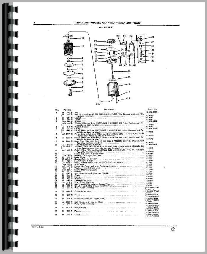 John Deere HW Tractor Parts Manual
