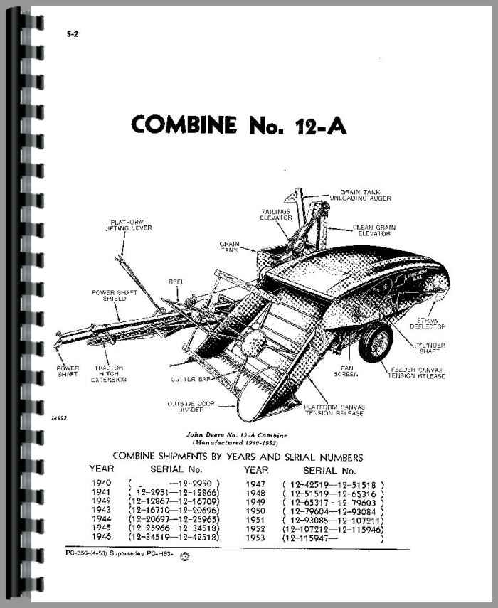 John Deere 12A Combine Parts Manual
