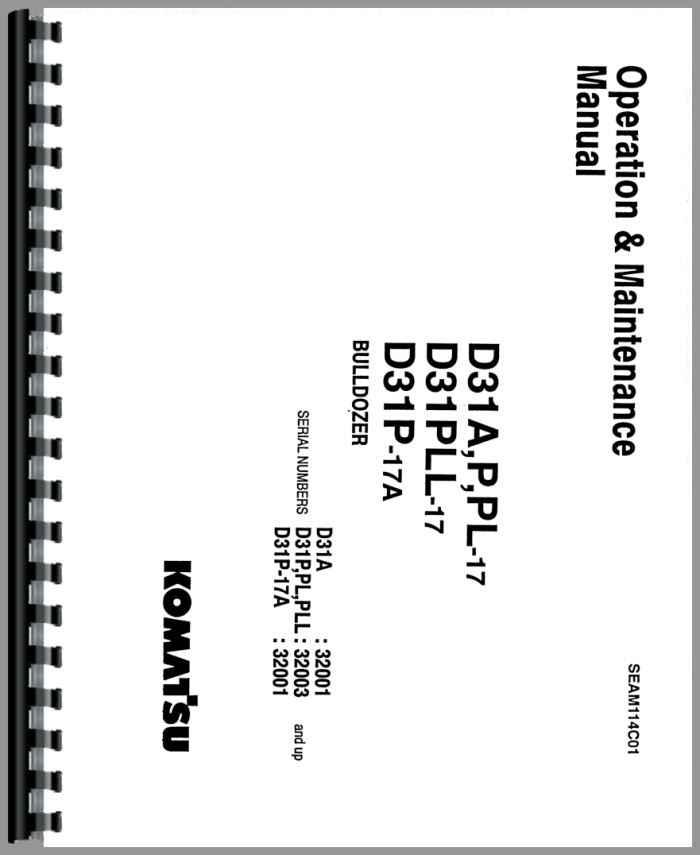 Komatsu D31PLL-17 Crawler Operators Manual