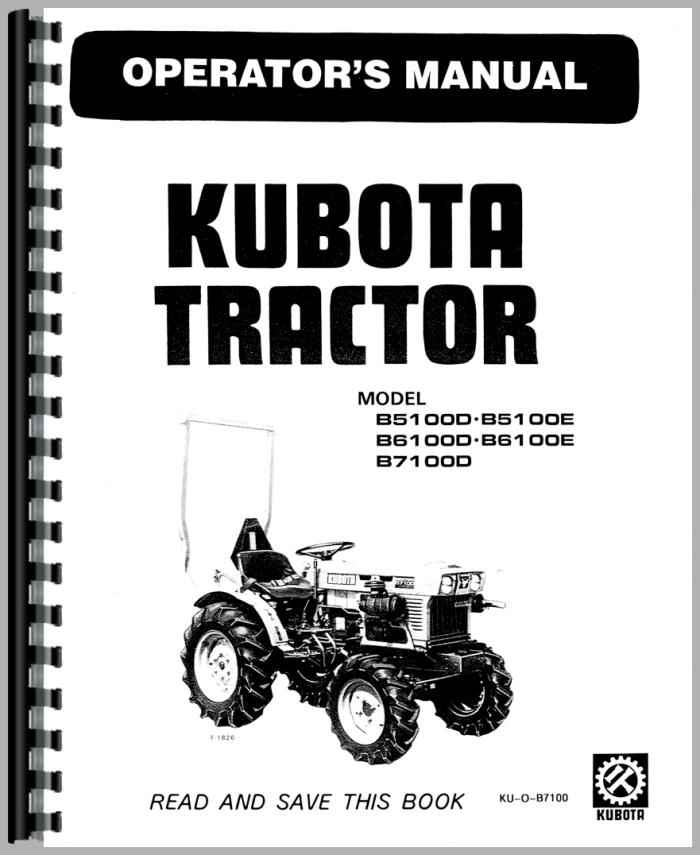 Kubota B5100E Tractor Operators Manual