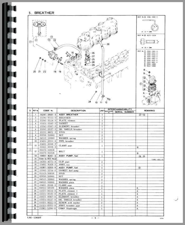 Kubota L345 Tractor Parts Manual