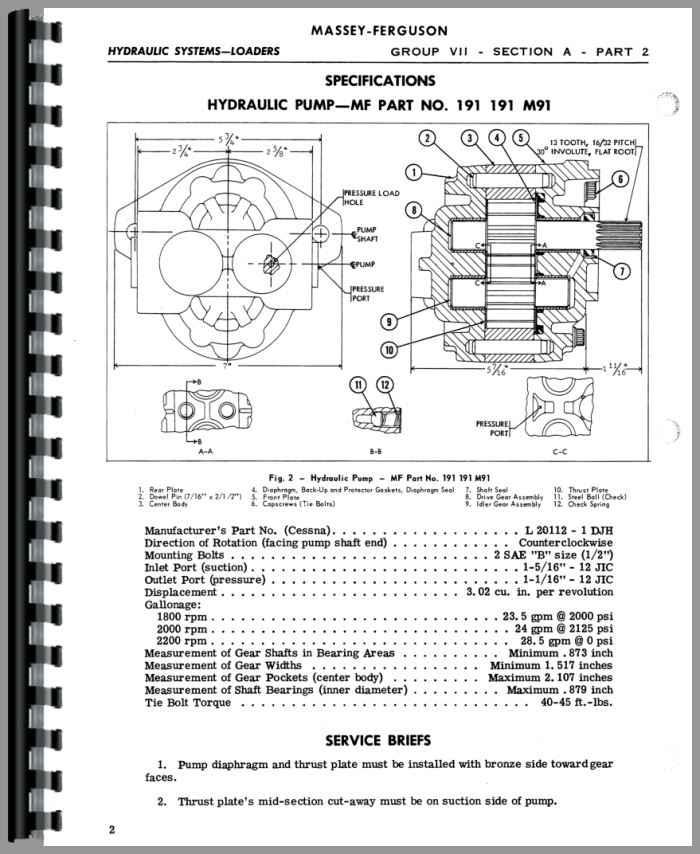 Massey Ferguson 200 Loader Attachment 100 Service Manual