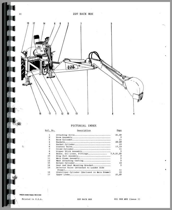 Massey Ferguson 220 Backhoe Attachment Parts Manual