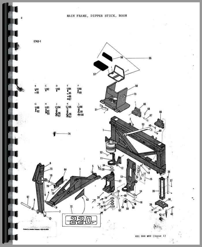 Massey Ferguson 220 Backhoe Attachment Parts Manual