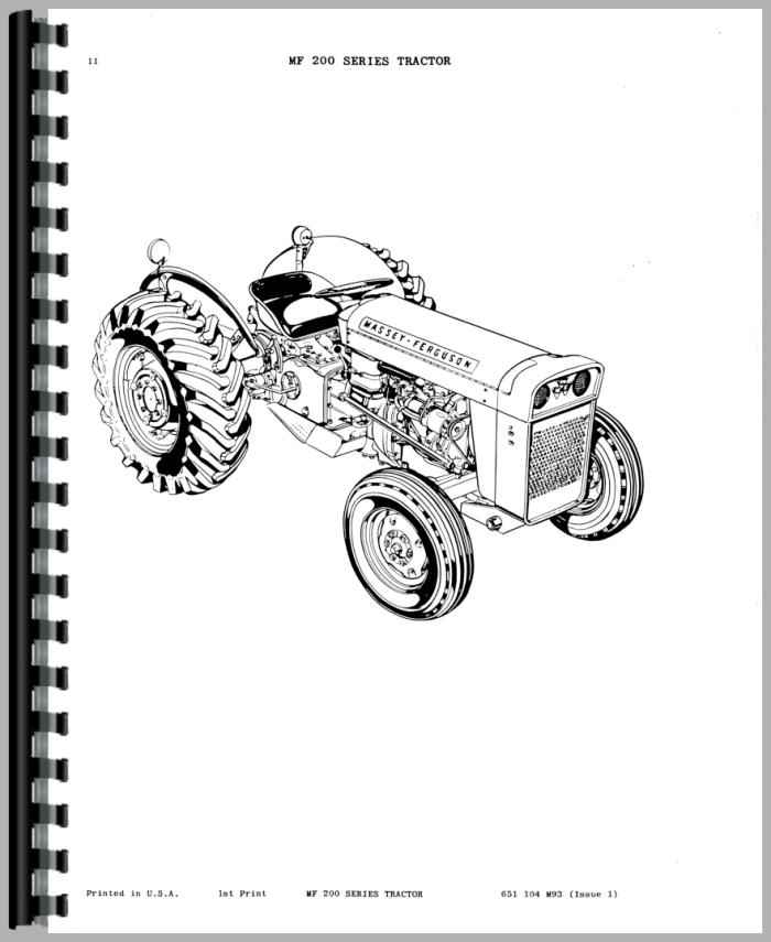 Massey Ferguson 205 Industrial Tractor Parts Manual