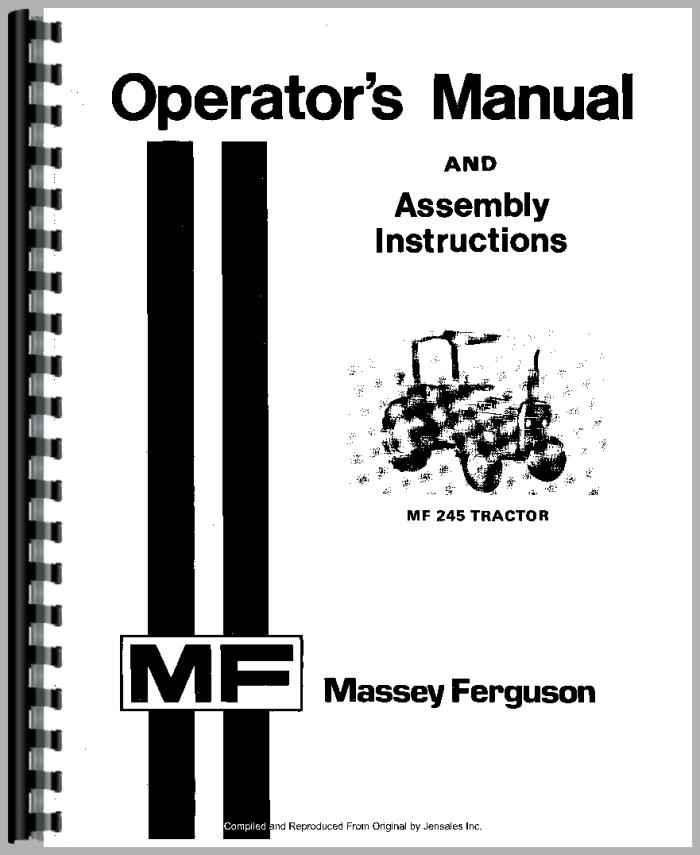Massey Ferguson 245 Tractor Operators Manual