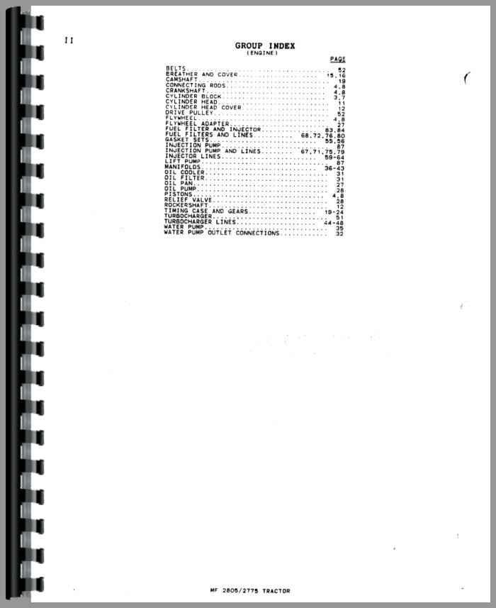 Massey Ferguson 2805 Tractor Parts Manual