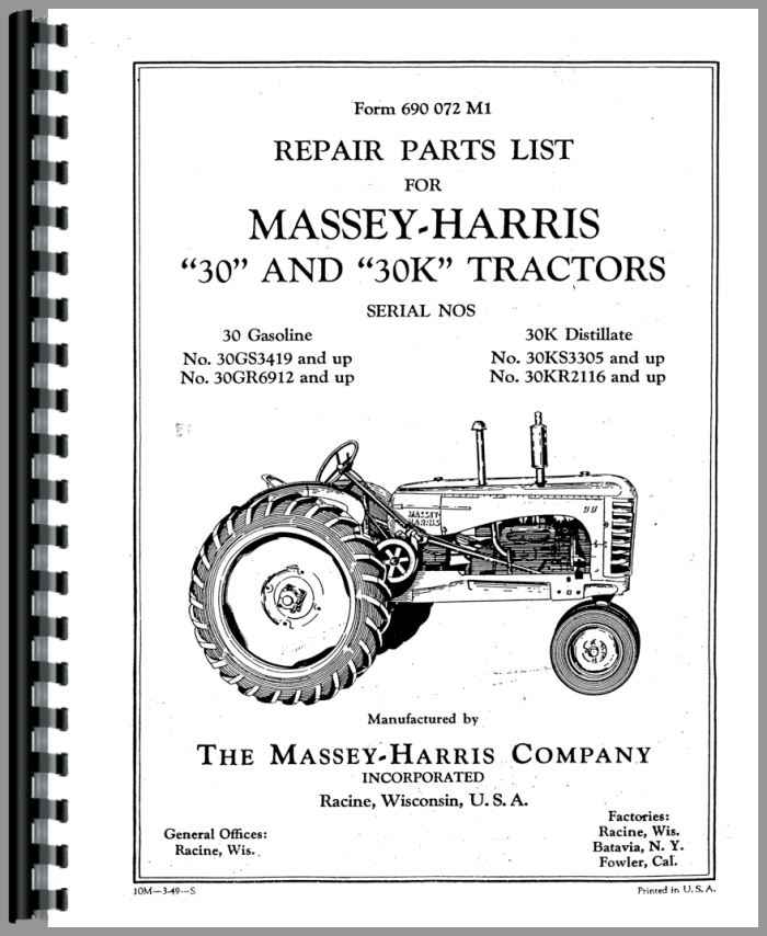 Massey Harris 30 Tractor Parts Manual