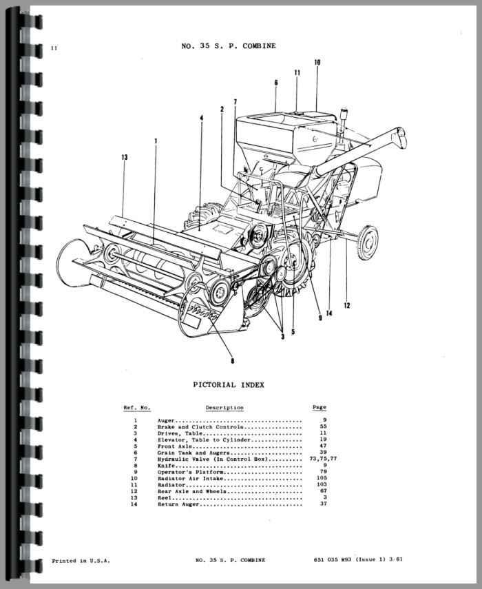 Massey Harris 35 Combine Parts Manual