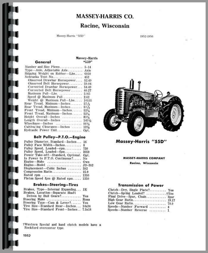 Massey Harris 55 Tractor Parts Manual