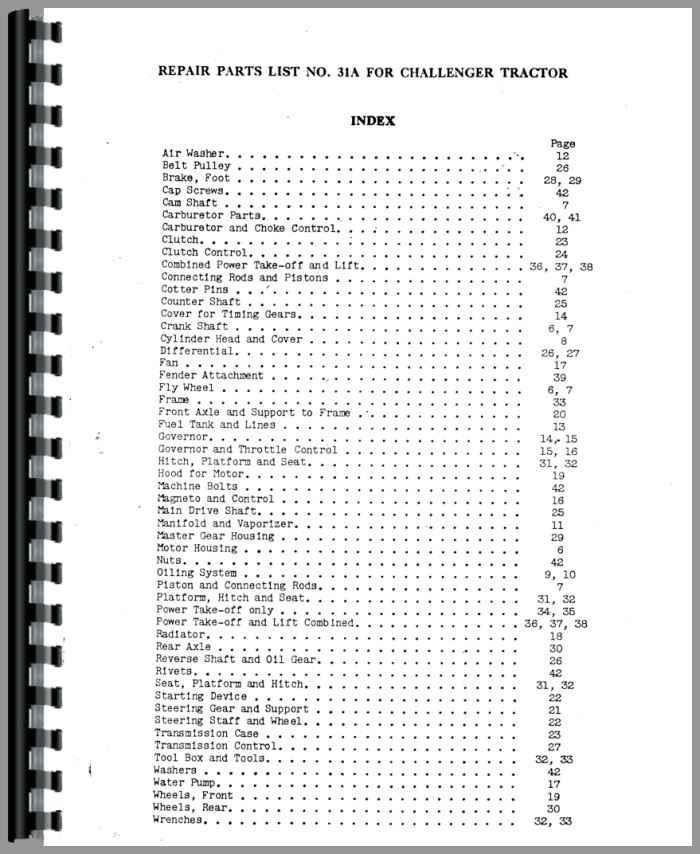 Massey Harris ChAllenger Tractor Parts Manual