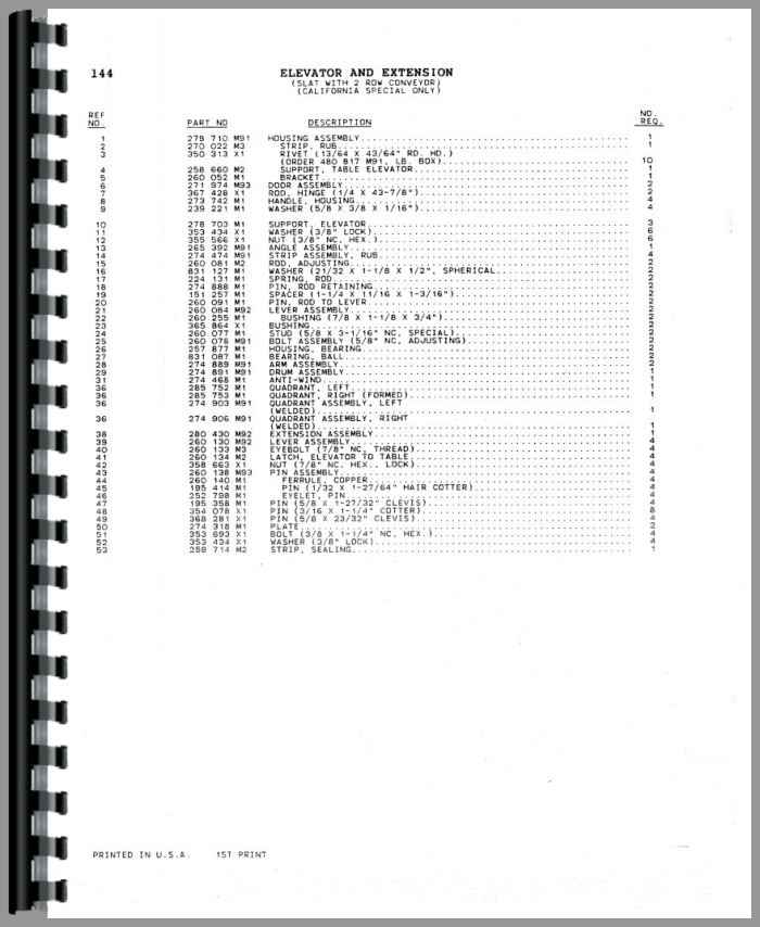Massey Ferguson 865 Combine Parts Manual