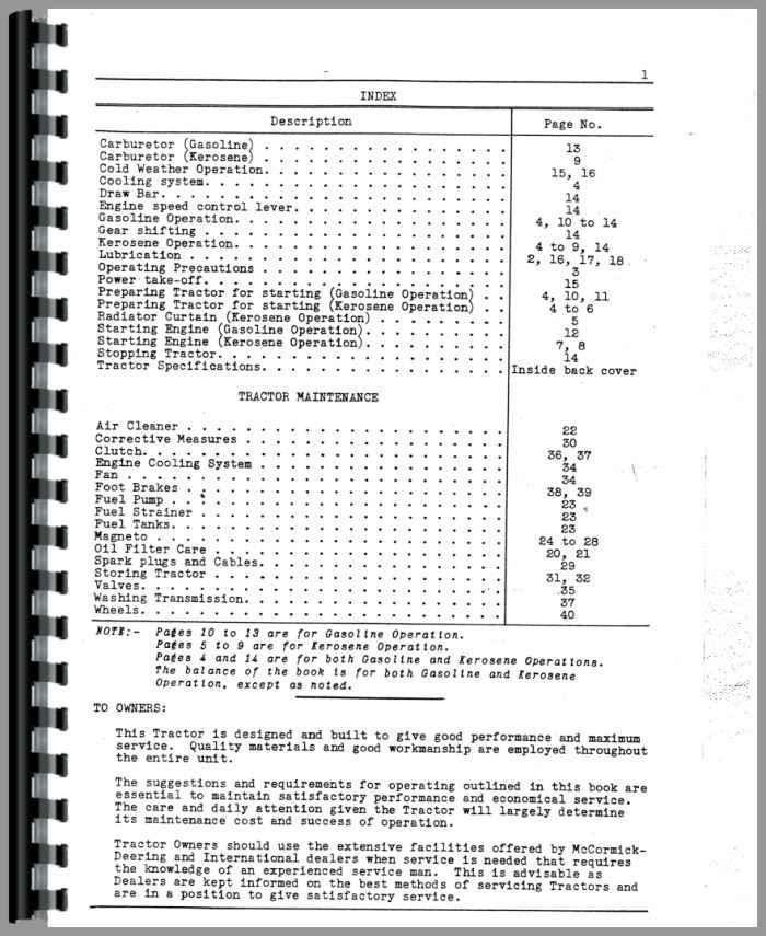 Mccormick Deering O12 Tractor Operators Manual