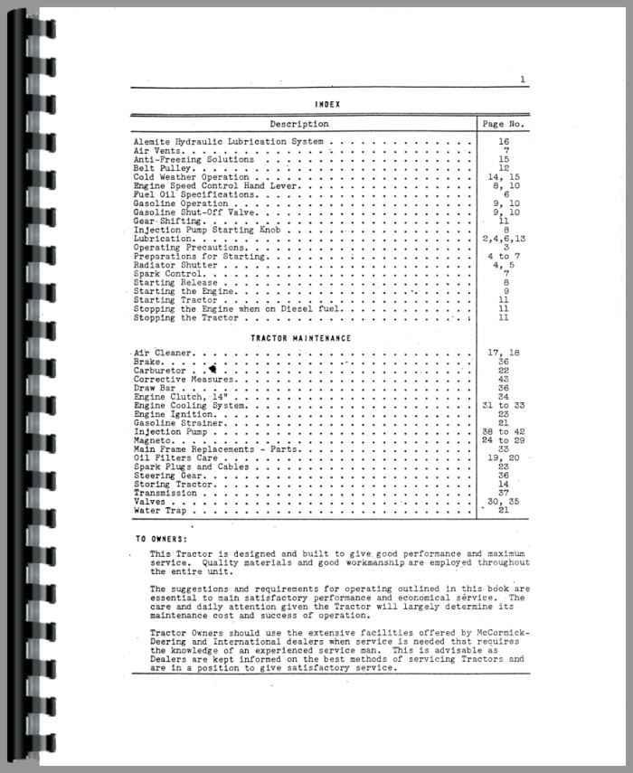 Mccormick Deering WD40 Tractor Service Manual