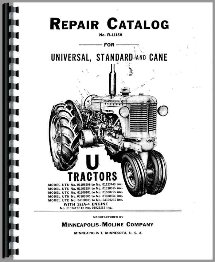 Minneapolis Moline UTS Tractor Parts Manual