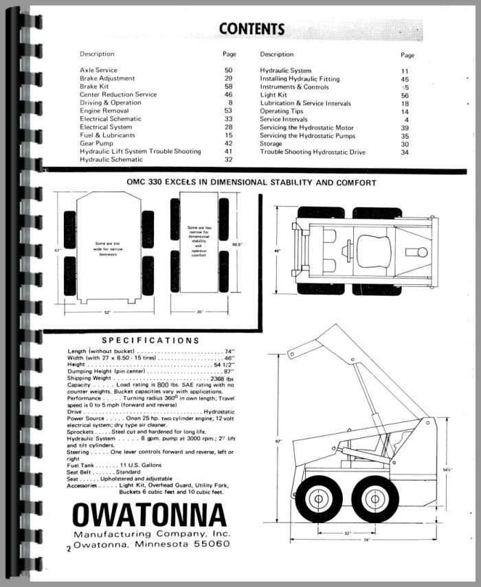 Owatonna 330 Skid Steer Loader Operators Manual