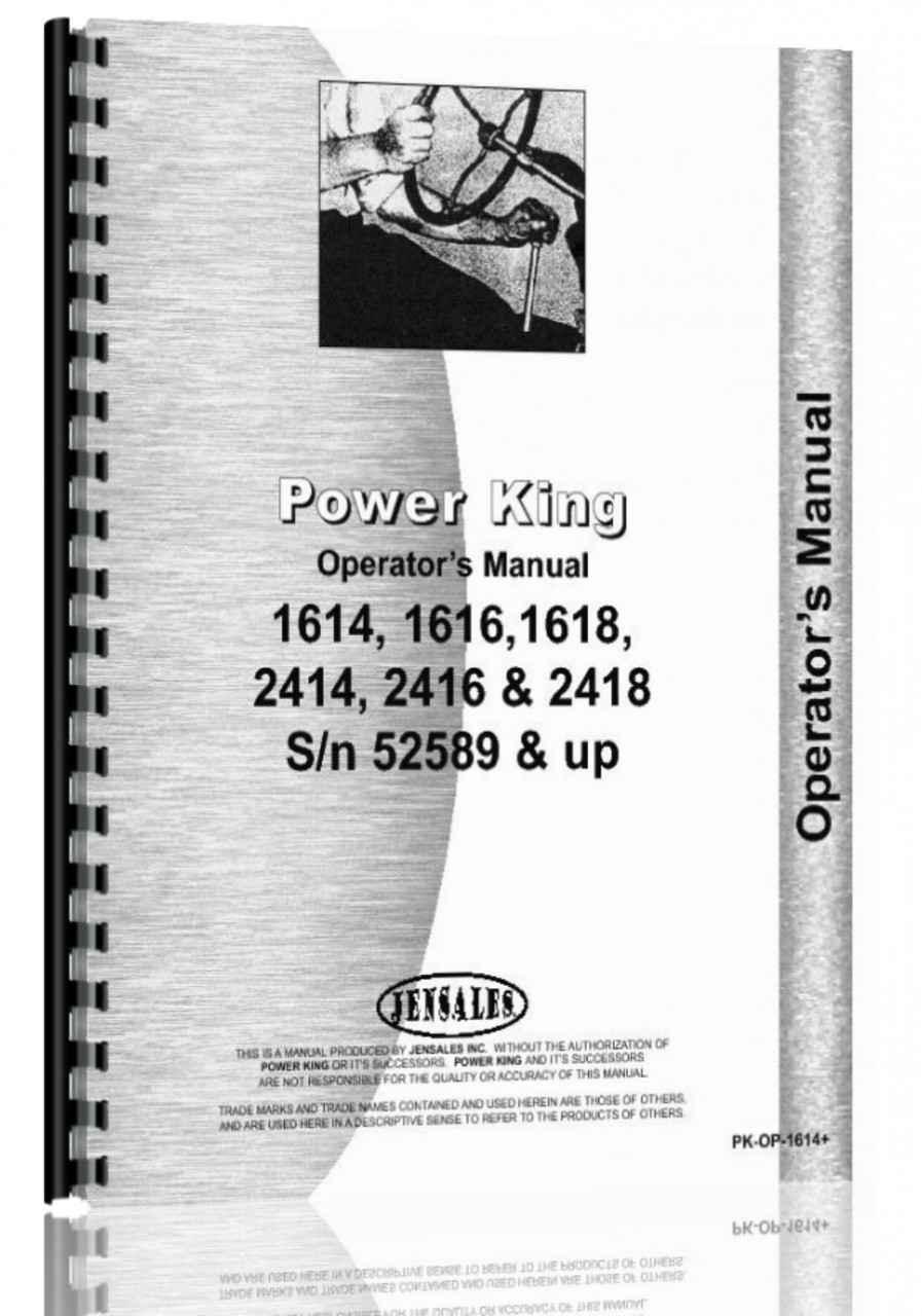 medium resolution of power king 1614 1616 1618 2414 2416 2418 tractor operators parts manual