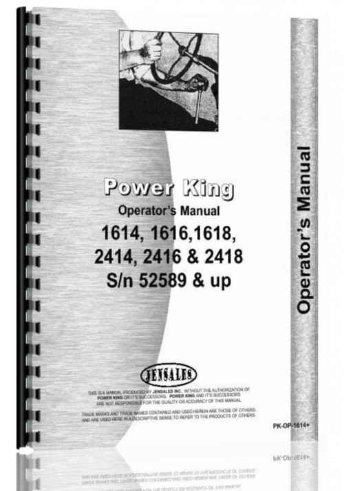 small resolution of power king 1614 1616 1618 2414 2416 2418 tractor operators parts manual