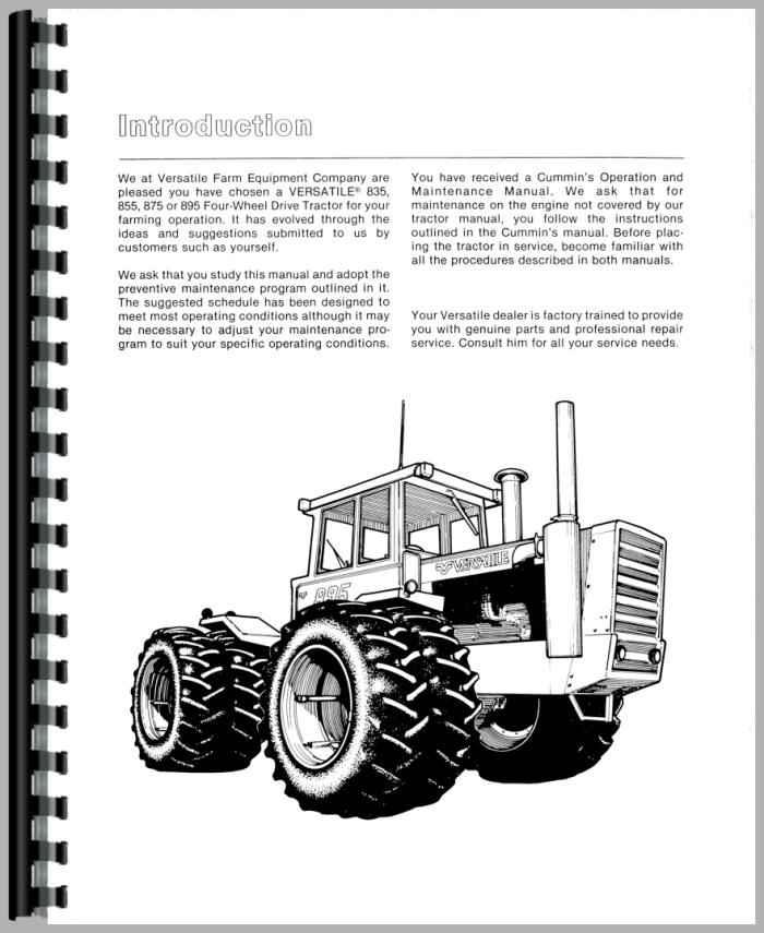 Versatile 855 Tractor Operators Manual