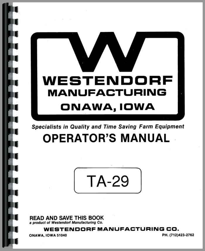 Westendorf TA-29 Loader Attachment Operators & Parts Manual