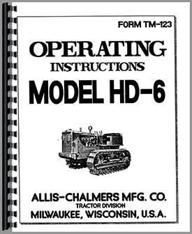 Allis Chalmers HD6 Crawler Operators Manual
