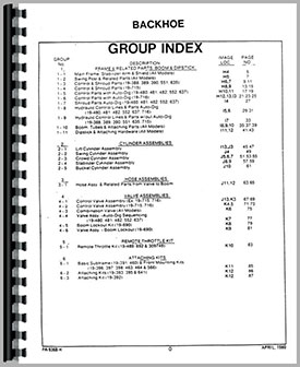 Ford 3550 Backhoe Attachment Parts Manual