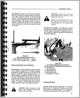 Ford 555 Tractor Loader Backhoe Operators Manual