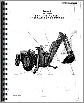 Ford New Major Sherman 54F Backhoe Attachment Parts Manual