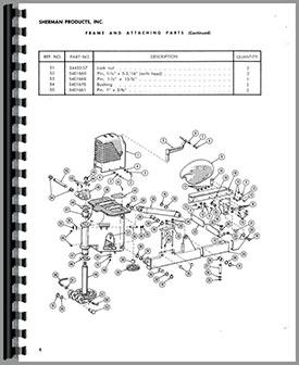 Ford Power Major Sherman 54E Backhoe Attachment Parts Manual