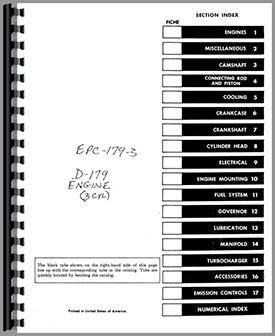 International Harvester 4500B Forklift Engine Parts Manual
