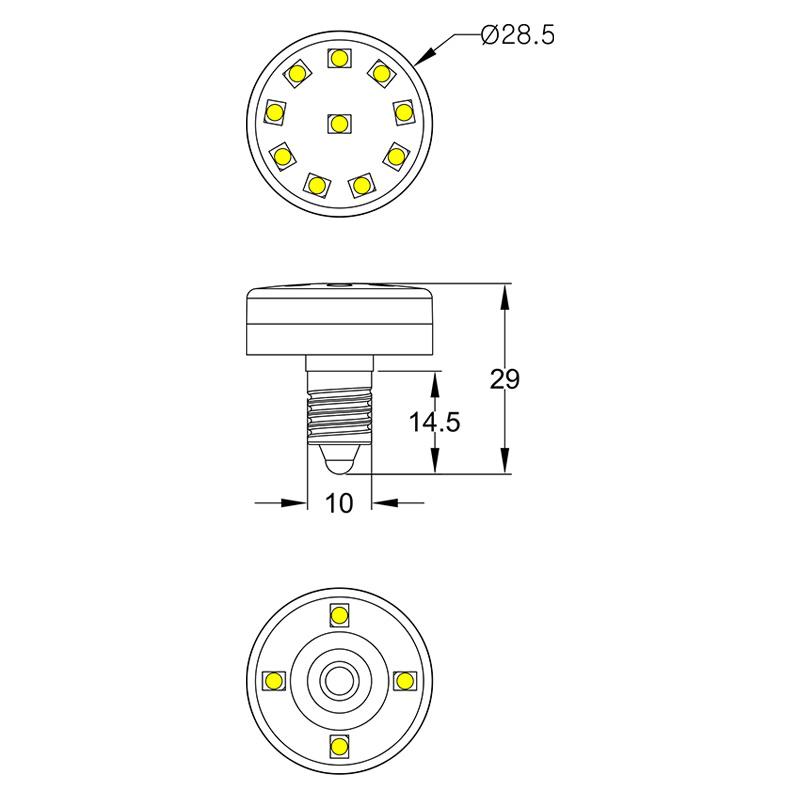 Single color 24V/60V/120V 14 LEDs E10 amusement led lamp