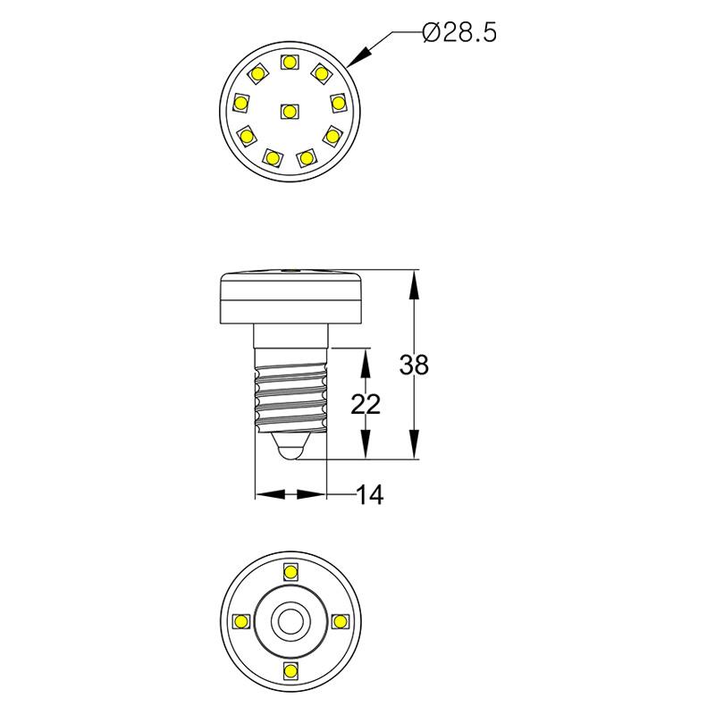 Single color 14 LEDs 24V/60V/120V E14 led holiday lighting