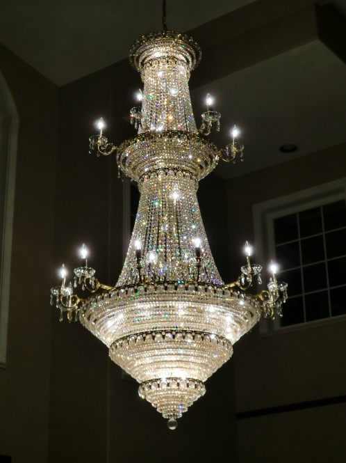 Cleaned Crystal Chandelier With Bulbs Replaced