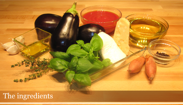 Ingredients for Parmigiana di Melanzane (Aubergine Parmigiana Pie) on a table