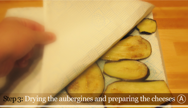 Parmigiana di Melanzane - Aubergine Parmigiana Pie - How to - step 3A - Drying the aubergines and preparing the cheeses