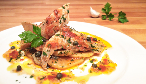 """""""Poached Ray Fish Wings with potatoes"""" recipe - """"Razza in umido con le patate"""""""