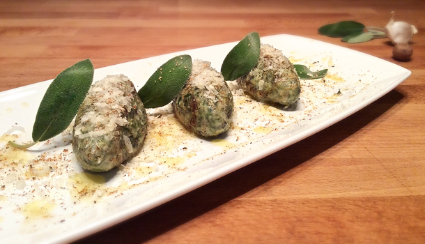 """Gnudi in Butter and Sage sauce"" recipe - ""Gnudi al Burro e Salvia"""