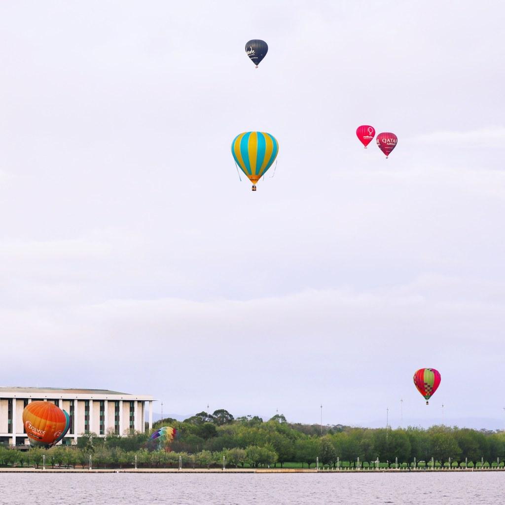 Hot air balloons over Canberra for Enlighten Festival