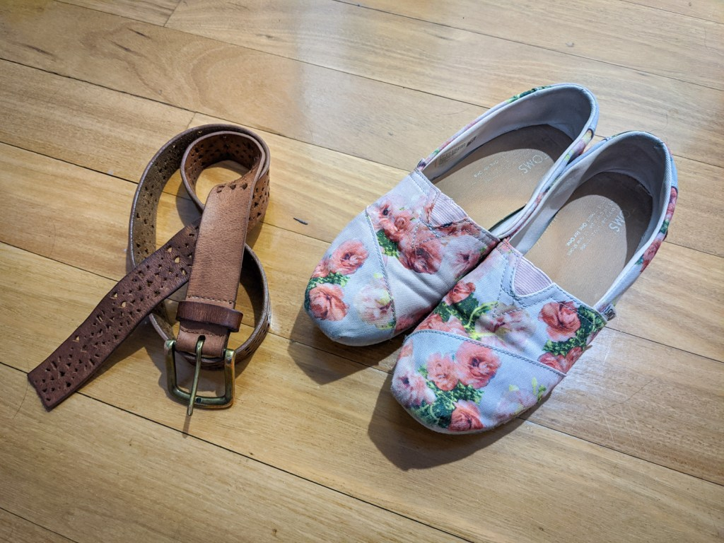 A leather belt and Toms shoes that I found at thrift shops