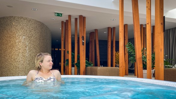Enjoying the whirlpool spa at Hotel Astoria in Bled, Slovenia