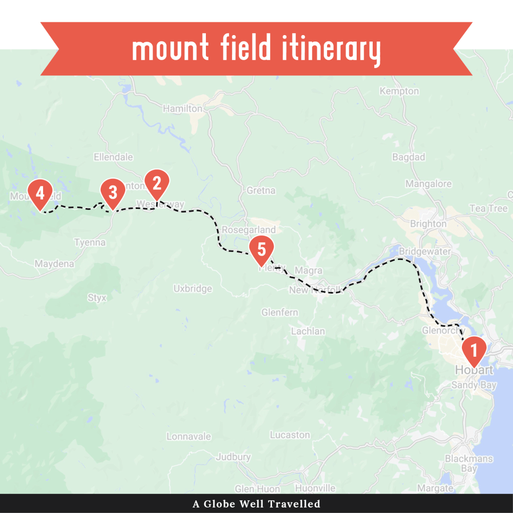 Mount Field road trip itinerary map
