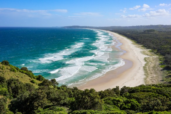 Looking south along the coast from Cape Byron in NSW, Australia