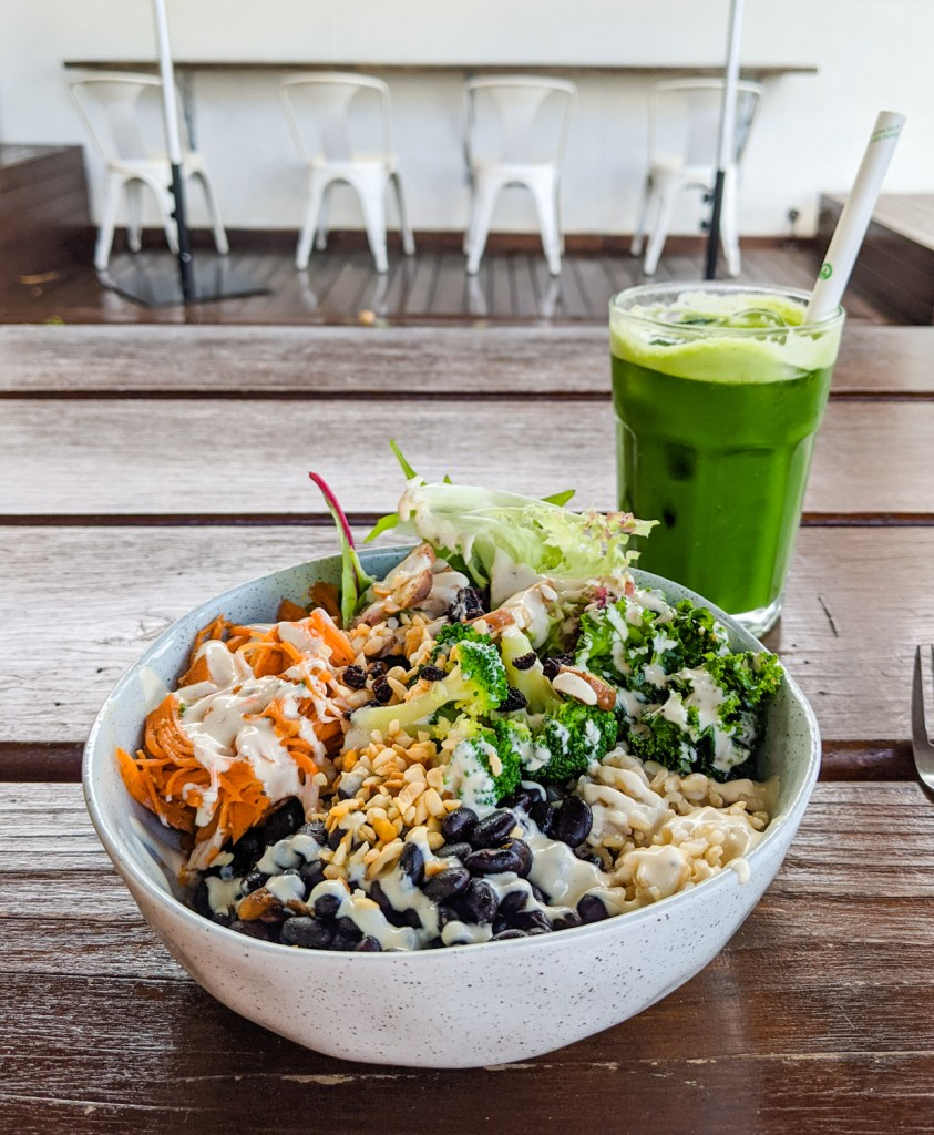 Buddha bowl and green juice from Paséyo cafe in Mullumbimby