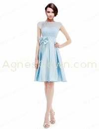 Bridesmaid Dresses,Bateau Neckline Knee Length Light Blue ...