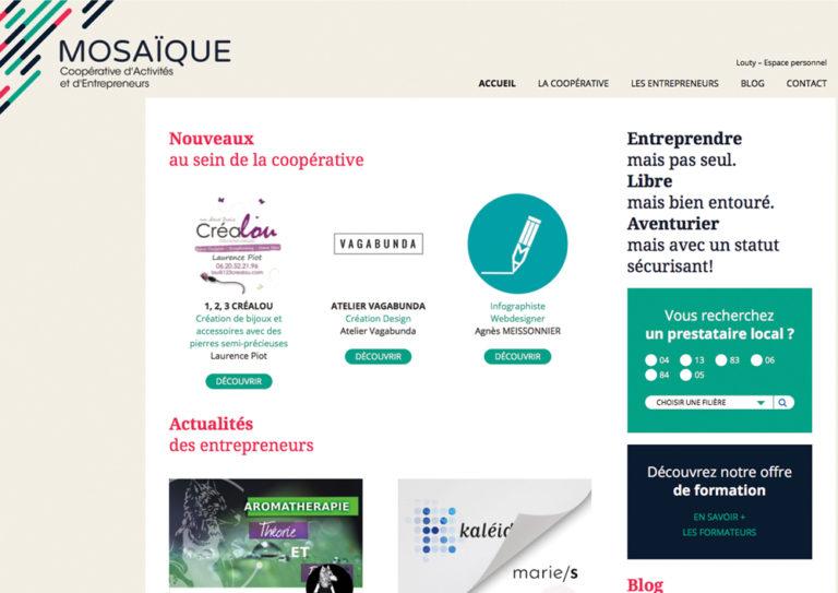capture d'écran page d'accueil de MOSAIQUE Coopérative d'Activités et d'Entrepreneurs