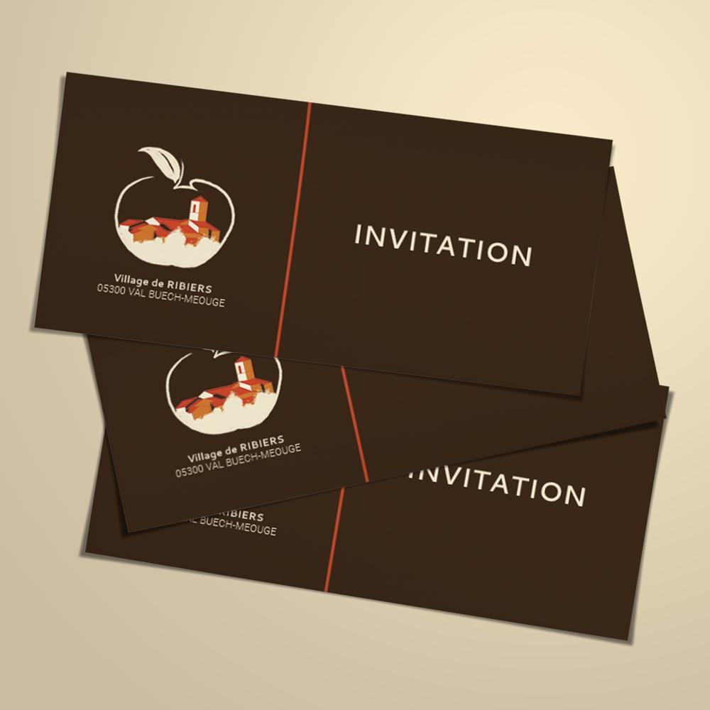 carton d'invitation réalisé pour la Mairie de RIBIERS en vue de l'inauguration des travaux effectués dans le village